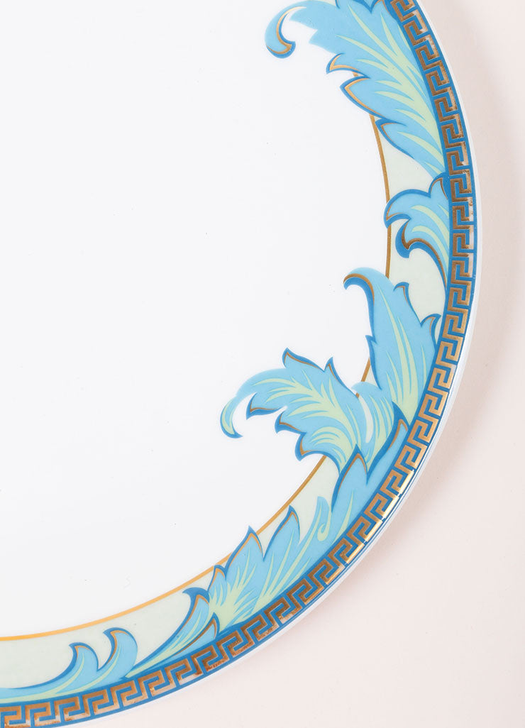 "Versace Rosenthal White and Blue ""Arabesque"" 11 inch Dinner Plate Detail"