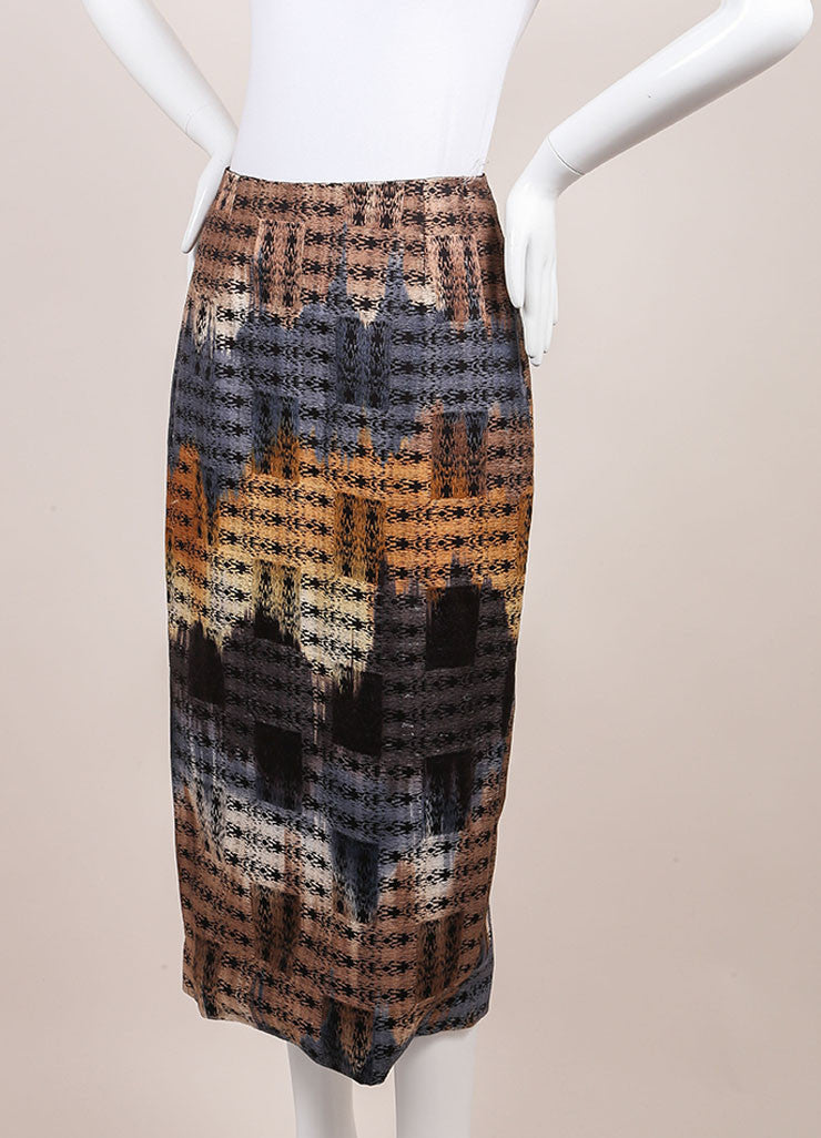 Wes Gordon New With Tags Black, Blue, and Tan Cotton Woven Midi Pencil Skirt Sideview