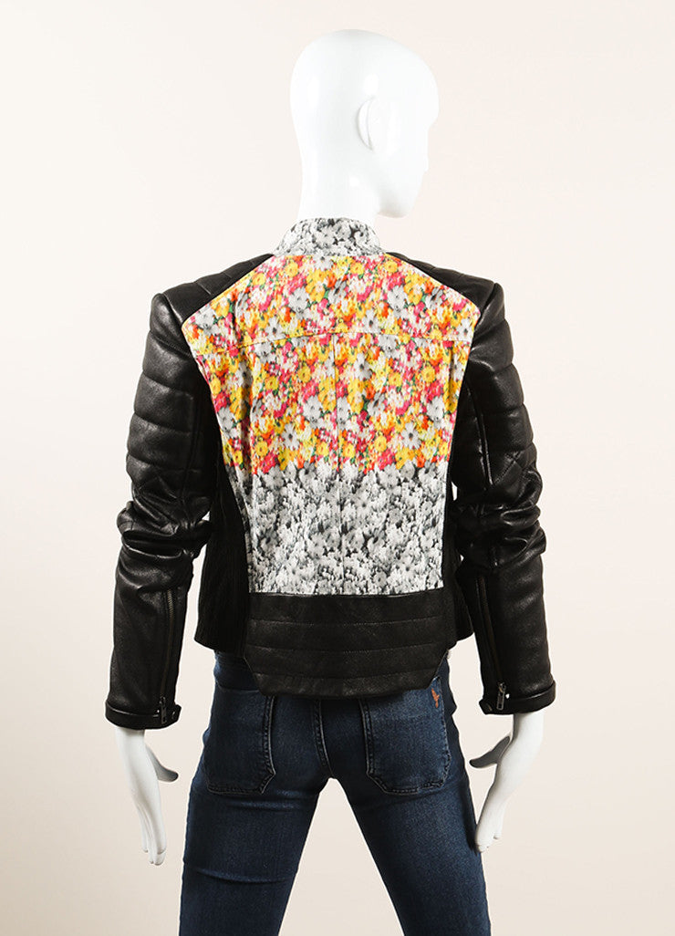 Yigal Azrouel Black and Multicolor Floral Print Quilted Leather Moto Jacket Backview