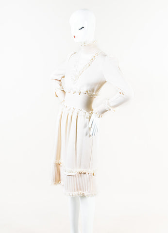 Chanel 06A Cream Cashmere Chiffon Ruffle Trim Turtleneck Dress Side