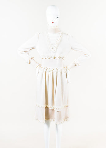 Chanel 06A Cream Cashmere Chiffon Ruffle Trim Turtleneck Dress Front