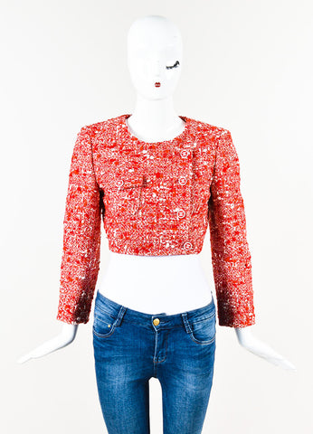 Chanel Red White Tweed Double Breasted 'CC' Button Cropped Jacket Front