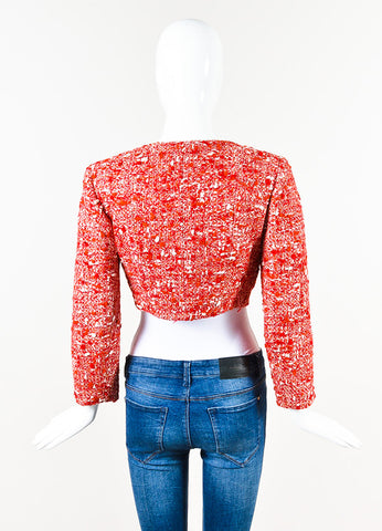Chanel Red White Tweed Double Breasted 'CC' Button Cropped Jacket Back