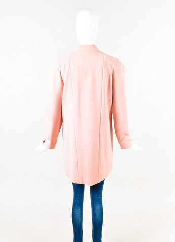 Chanel Boutique Long Pink Knit 'CC' Button Jacket Back