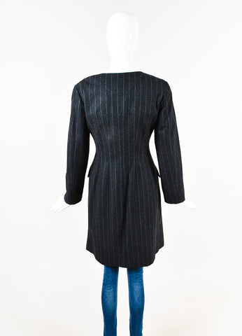 Chanel Charcoal Grey Wool Long Collarless Pinstripe Jacket Back