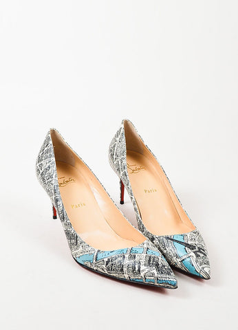 "Christian Louboutin Black Leather Plan de Paris Print ""Decollete 70"" Pumps Frontview"