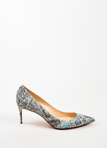 "Christian Louboutin Black Leather Plan de Paris Print ""Decollete 70"" Pumps Sideview"