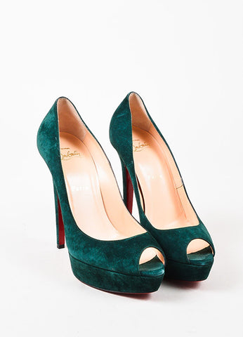 "Christian Louboutin Forest Green Suede ""Lady Peep"" Peep Toe Platform Pumps Frontview"