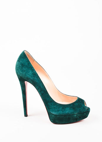 "Christian Louboutin Forest Green Suede ""Lady Peep"" Peep Toe Platform Pumps Sideview"