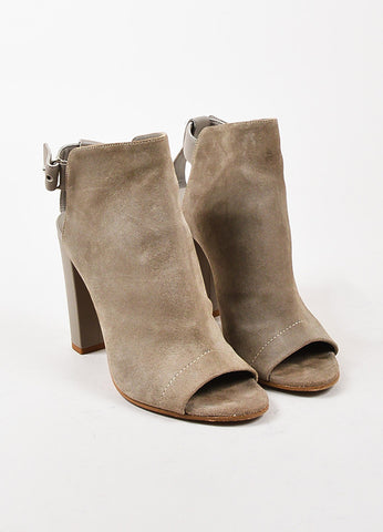 Vince Beige Suede Open Toe Ankle Strap Booties