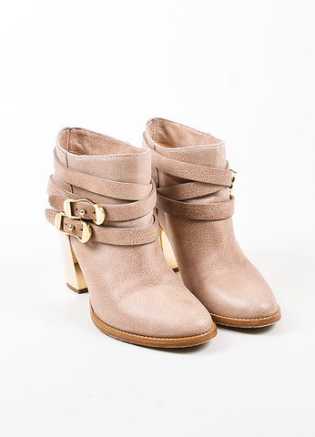 "Jimmy Choo Taupe Nubuck Gold Toned Heel Buckle ""Melba"" Booties Frontview"
