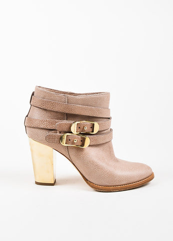 "Jimmy Choo Taupe Nubuck Gold Toned Heel Buckle ""Melba"" Booties Sideview"