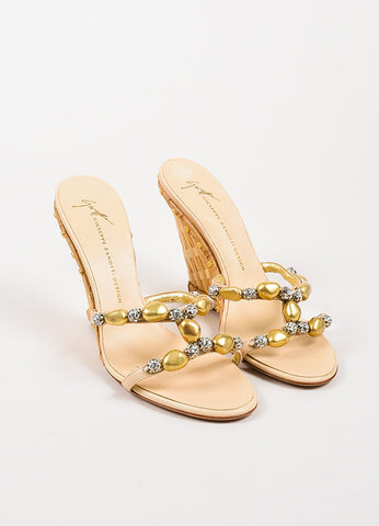 Giuseppe Zanotti Gold Beaded Wedge Sandals Frontview