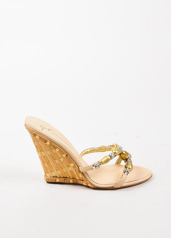 Giuseppe Zanotti Gold Beaded Wedge Sandals Sideview