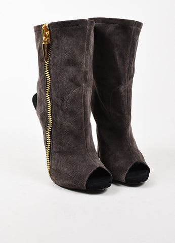 Giuseppe Zanotti Dark Grey and Gold Zipper Boots  Frontview