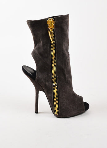 Giuseppe Zanotti Dark Grey and Gold Zipper Boots  Sideview