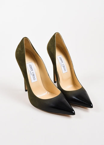 Jimmy Choo Olive Green and Black Suede Patent Leather Ombre Heels Frontview