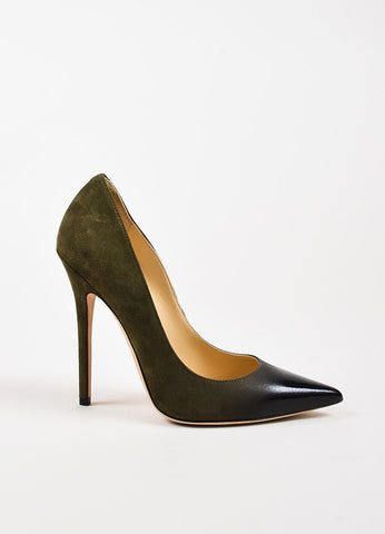 Jimmy Choo Olive Green and Black Suede Patent Leather Ombre Heels Sideview