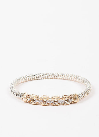 Alwand Vahan Sterling Silver, 14K Gold, and Diamond Link Bangle Bracelet Frontview