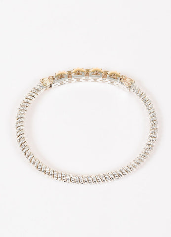 Alwand Vahan Sterling Silver, 14K Gold, and Diamond Link Bangle Bracelet Topview