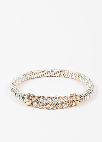 Alwand Vahan Sterling Silver, 14K Gold, and Diamond Feather Bangle Bracelet Frontview