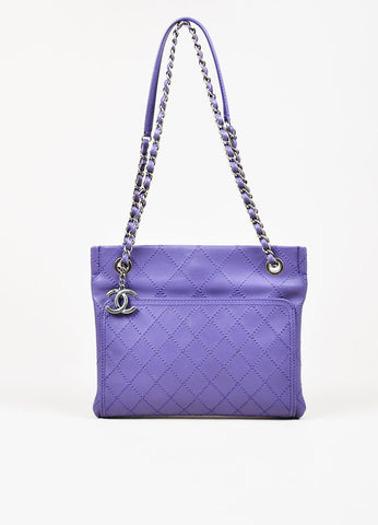 Chanel Purple Leather Wild Stitch Silver Toned Chain Small Shoulder Bag Frontview
