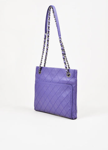 Chanel Purple Leather Wild Stitch Silver Toned Chain Small Shoulder Bag Sideview