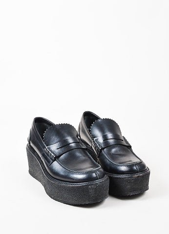 Celine Black Leather Round Toe Wedge Platform Loafer Shoes Frontview
