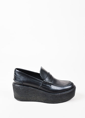 Celine Black Leather Round Toe Wedge Platform Loafer Shoes Sideview