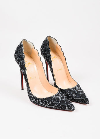 "Christian Louboutin Black Leather ""Top Vague"" Hematite Pumps Frontview"