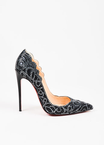 "Christian Louboutin Black Leather ""Top Vague"" Hematite Pumps Sideview"