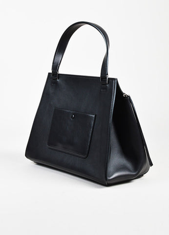 "Celine Black Beige Leather ""Medium Edge"" Single Handle Tote Bag Back"