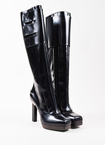 Lanvin Black Leather Tall Square Toe Boots frontview