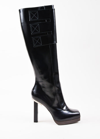 Lanvin Black Leather Tall Square Toe Boots Sideview