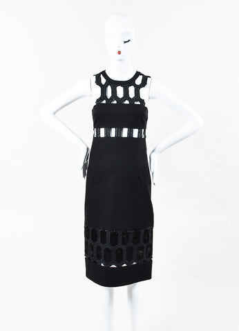 Jonathan Simkhai Black Cut Out Paneled Sleeveless Sheath Dress Front