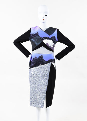 Peter Pilotto Black Multicolor Graphic Print Sequin Long Sleeve Dress Front