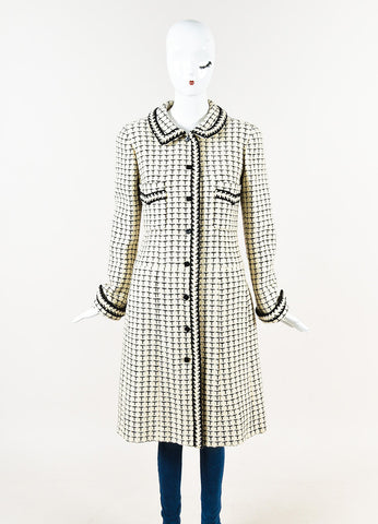 Chanel Cream Black Checker Plaid Knit Coat Front