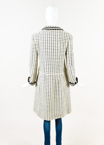 Chanel Cream Black Checker Plaid Knit Coat Back
