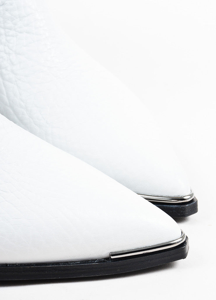 "Acne Studios White Grained Leather ""Jensen"" Chelsea Ankle Booties Detail"