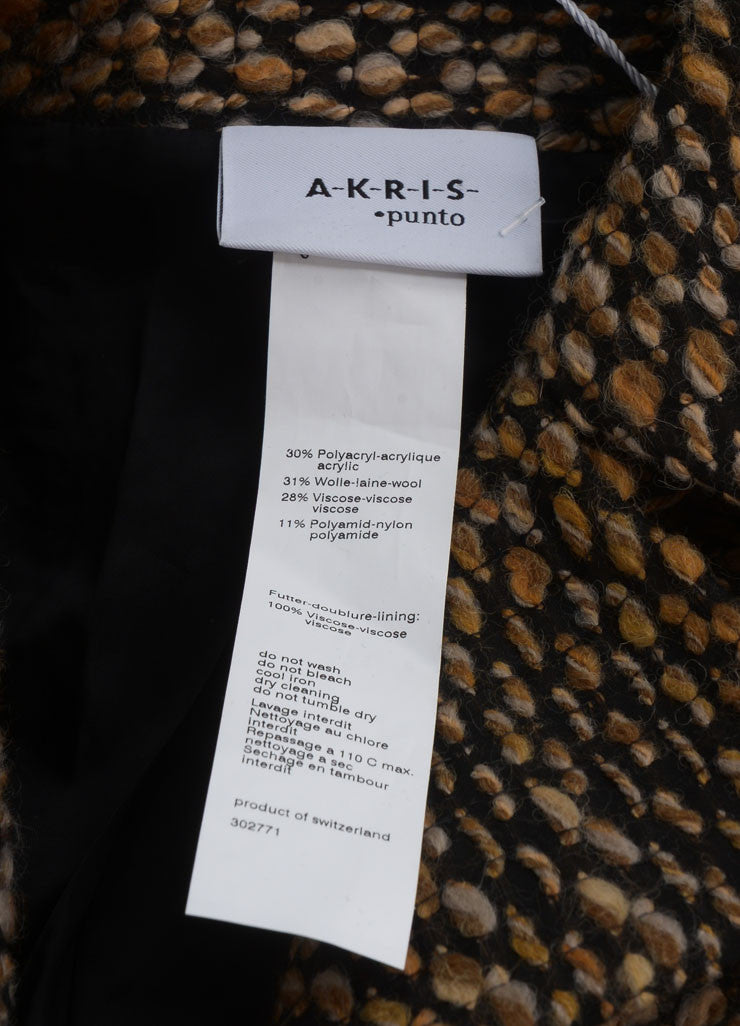 Akris Punto New With Tags Brown and Black Wool Blend Tweed Crop Sleeve Jacket Brand