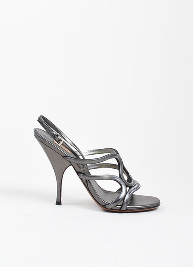 Alaia Gunmetal Leather Chain Strappy Slingback Heeled Sandals Sideview