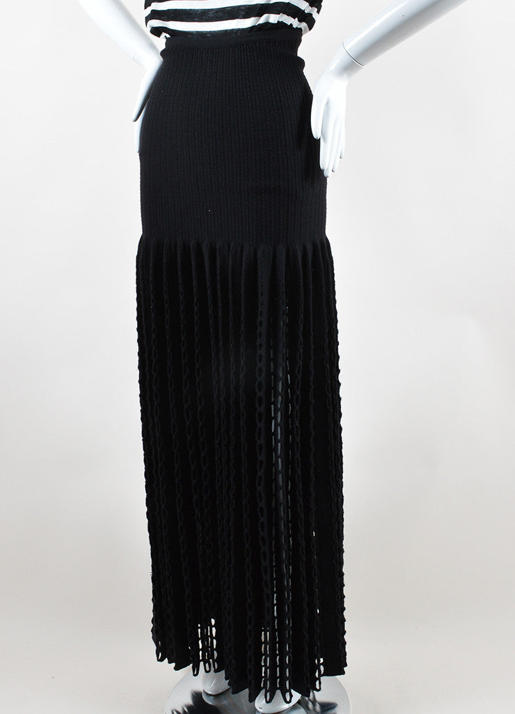 Alaia Black Wool Blend Knit Oversized Eyelet Maxi Skirt Sideview