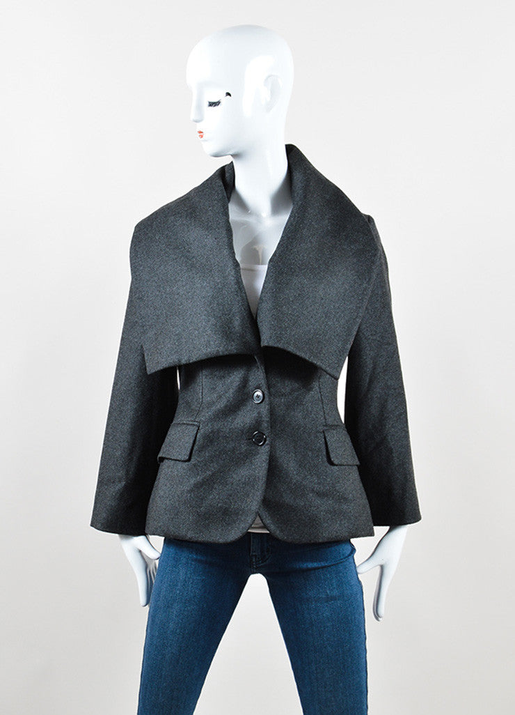 Alexander McQueen Grey Wool and Cashmere Oversized Collar Jacket Pant Suit Jacket