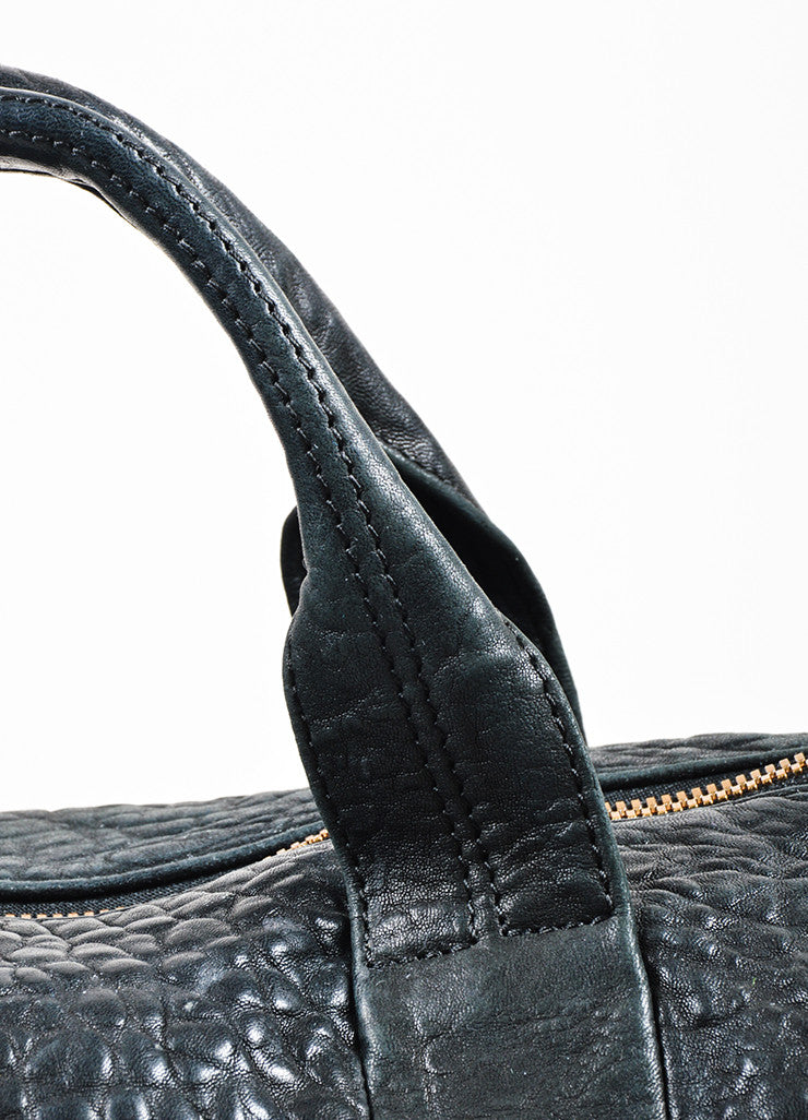 "Alexander Wang Black Pebbled Leather ""Rocco"" Duffel Bag Detail 2"