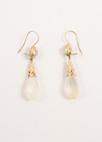 Anaconda 19K Gold Faceted Stone Embellished Baroque Drop Earrings Frontview
