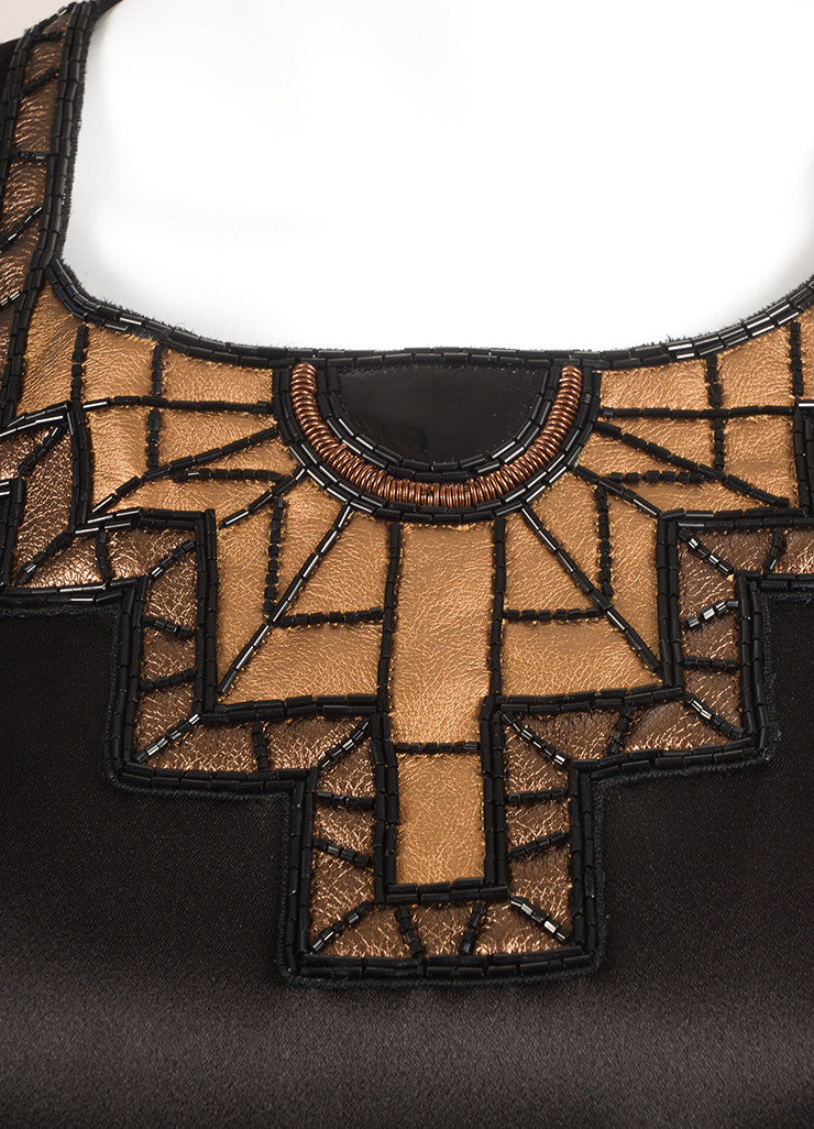 Andrew Gn Black and Bronze Metallic Leather and Bead Trim Sleeveless Top Detail