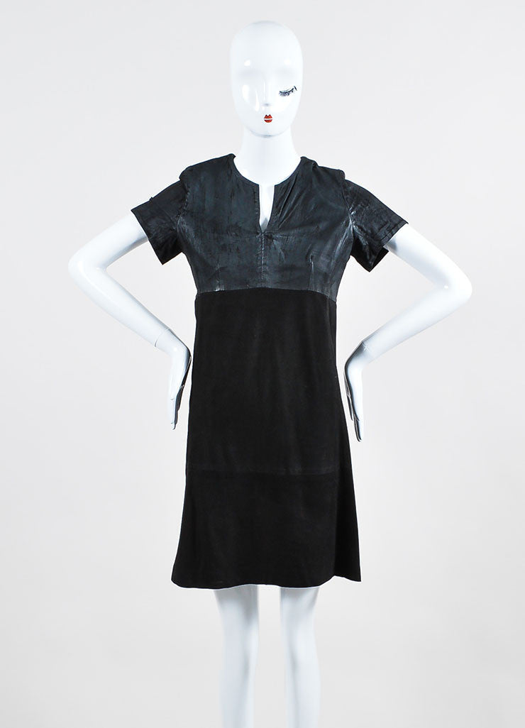 Black Balenciaga Leather and Suede Short Sleeve V-Neck Dress Frontview