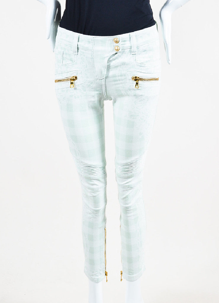 Balmain Mint Green, White, and Gold Toned Zipper Printed Skinny Jeans Frontview