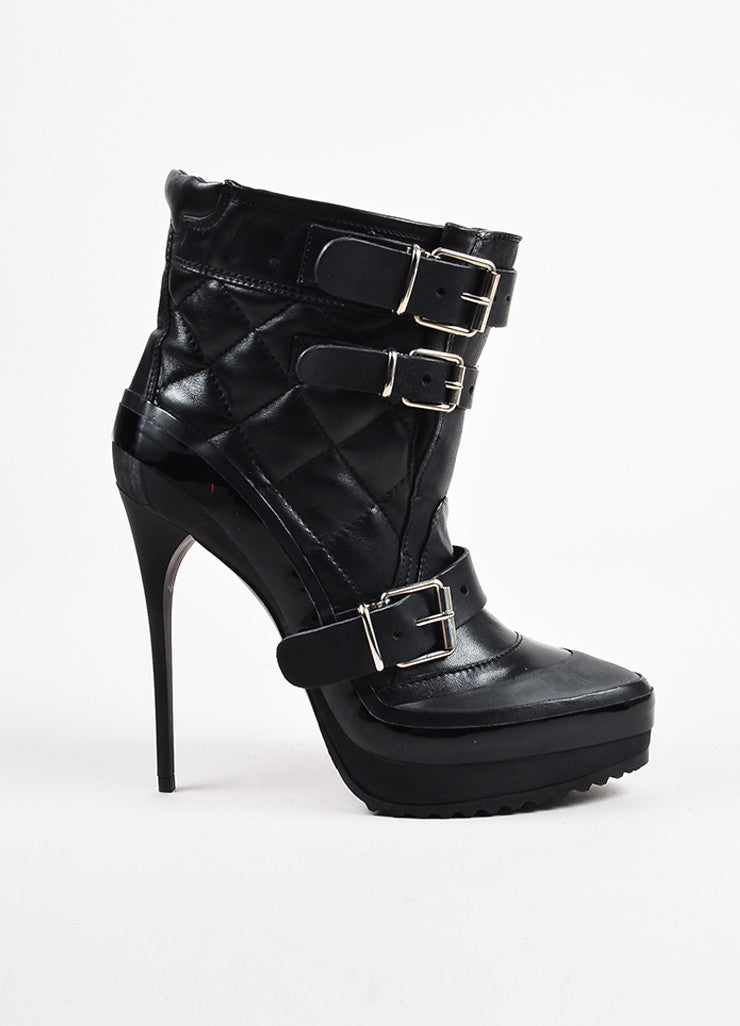 Burberry Black Leather Quilted and Buckled Platform Stiletto Boots Sideview