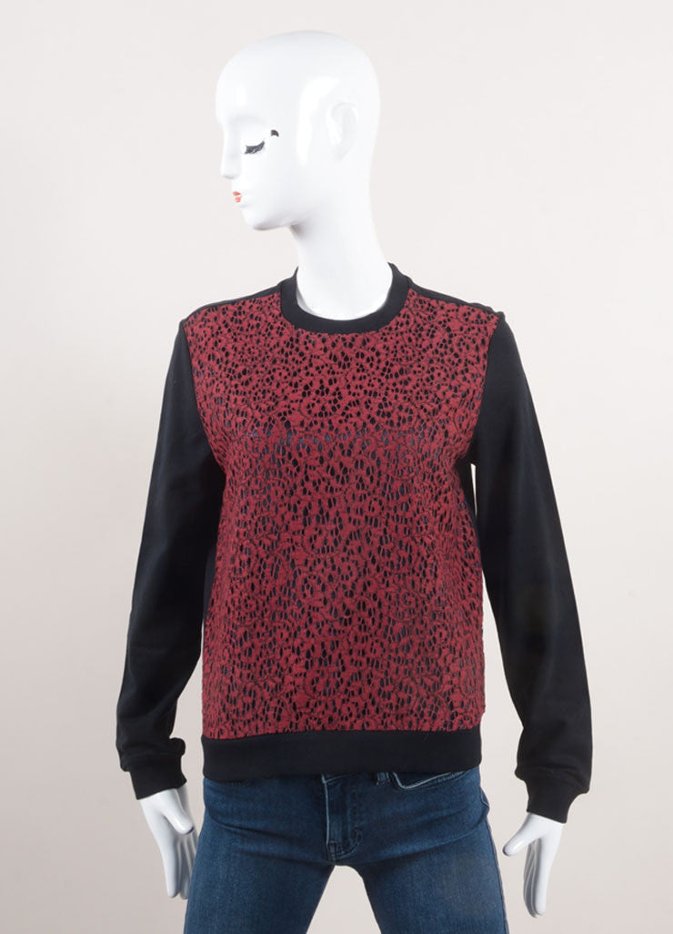 Carven New With Tags Red and Black Lace Front Long Sleeve Pullover Top Frontview